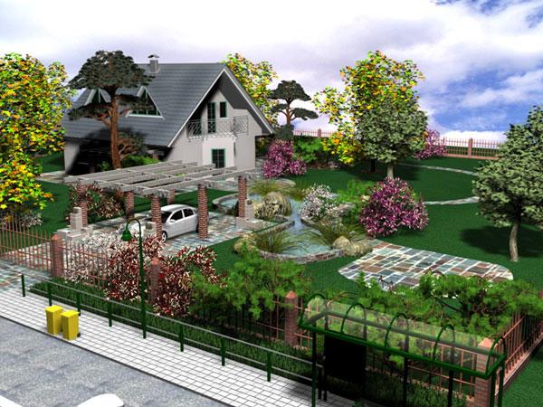 дизайны дворов частных домов фото